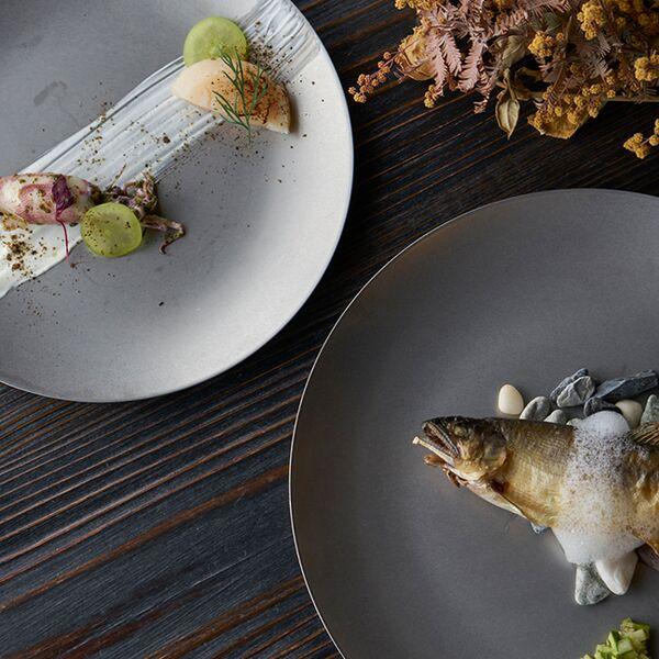 ヴィンテージイノックス ラウンドクープ皿 カフェレストラン プレート
